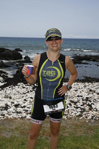 Erin Easingwood at Triathlon finish line